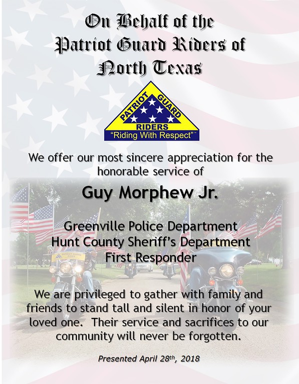 Guy Morphew Jr - 04/28/2018