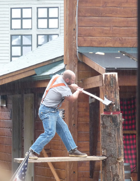those little horizontal boards are jammed into the tree trunks to make the cuts high up on the tree with the axe