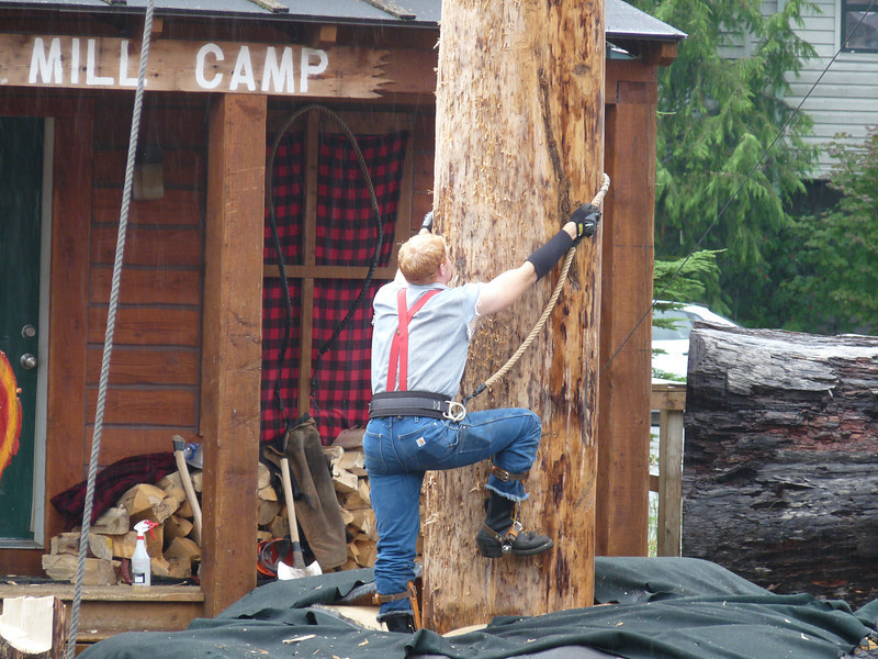 the final event was the tree climbing<br /> <br /> While I did enjoy the show, it was pretty hokey and staged.  The men are talented, there's no doubt of that, but the  staging did little to show it off.<br /> <br /> If you only have a short time in Ketchikan, I'd say forego the Alaskan Lumberjack Show and make your way to the Totem Heritage Center, where your time will probably be better spent.  Just one woman's opinion.
