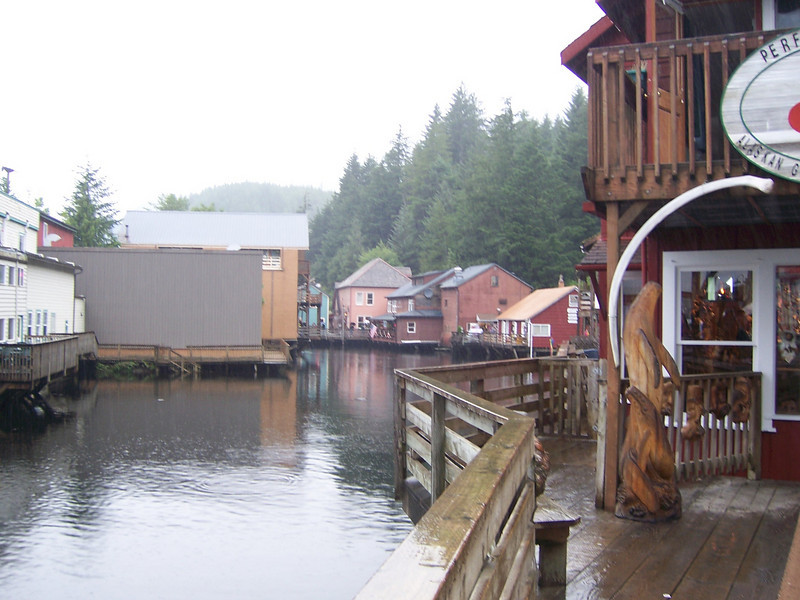 Imposing mountain ranges, nearly reaching shore, left Ketchikan's founders with little space on which to build.  Sturdy pilings were sunk and piers built atop them.  As a result, some of the town's most charming harborside areas are actually on stilts IN the harbor!