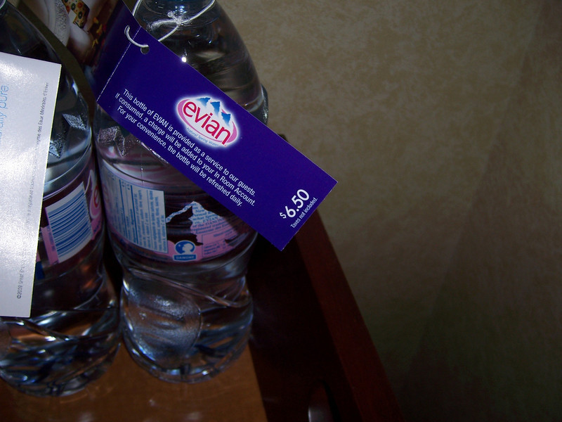 If you get thirsty, don't drink the water from the minibar....... you can't afford it!