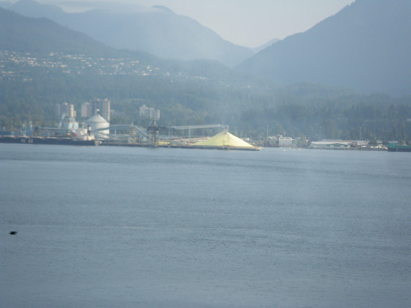 Upon seeing this large mound of yellow stuff, some people may think that Vancouver exports minerals, like perhaps sulfur.