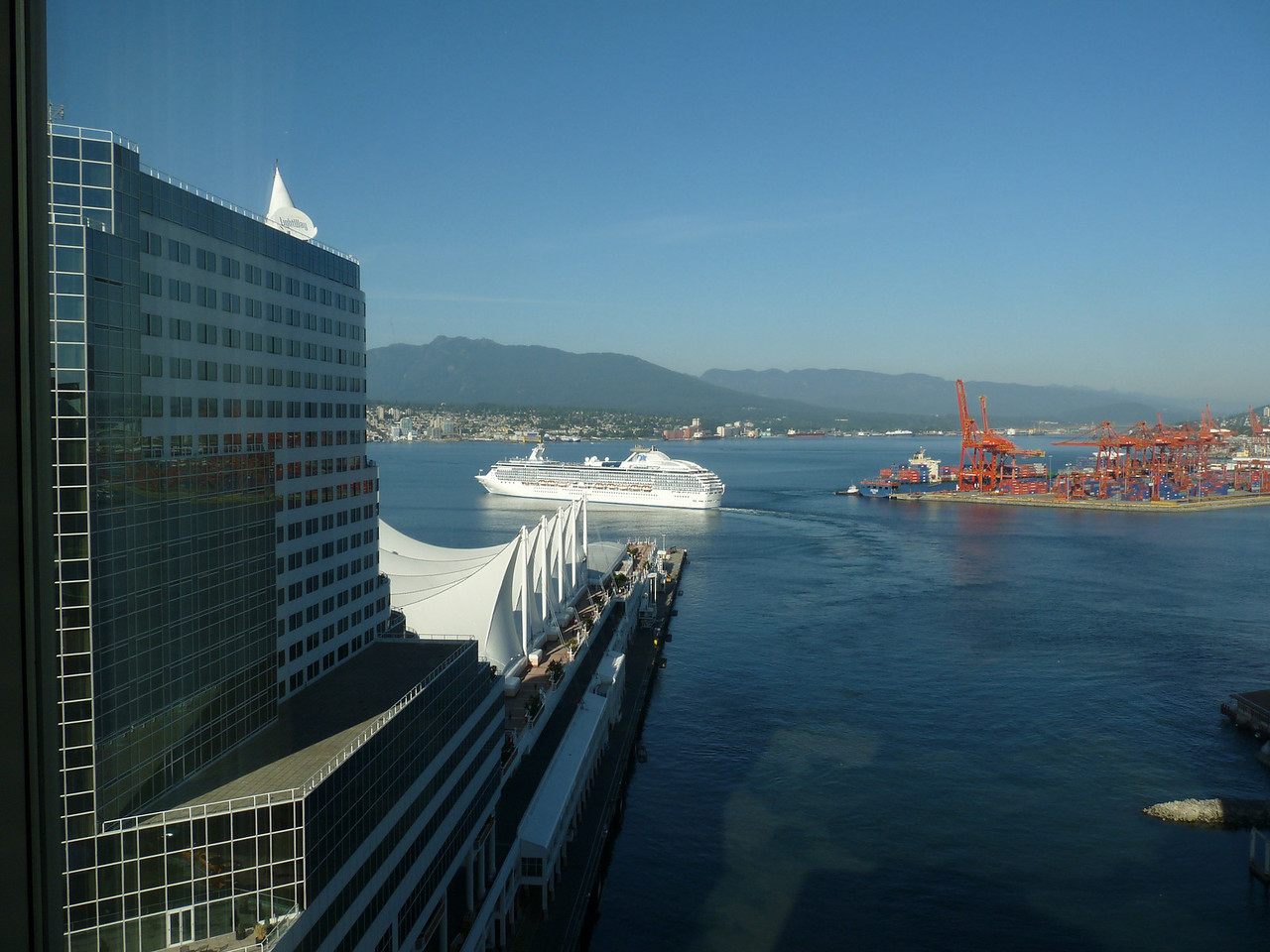 view from our hotel window (looks a bit different in the early evening than it did this morning at dawn, eh?)<br /> <br /> I'm not sure I ever mentioned:  our hotel was the very nice Fairmont Waterfront.