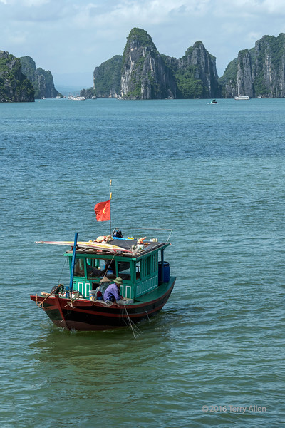Couple fishing in Ha Long Bay, vertical, north Vietnam