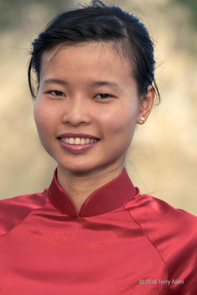 Portrait of a young Vietnamese woman, Ha Long Bay, north Vietnam