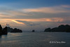 Islands at sunset, Ha Long Bay, north Vietnam