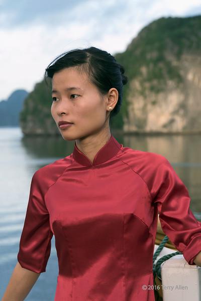 Pensive woman, Ha Long Bay, north Vietnam
