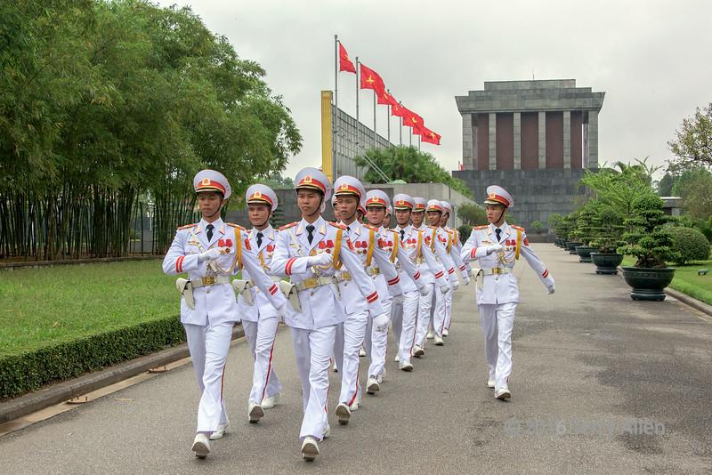 Ceremonial guard on parade by the Ho Chi Minh mausoleum, Hanoi, North Vietnam