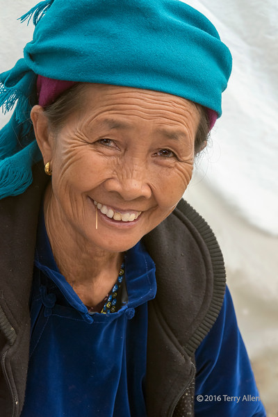 Woman with a toothpick and a gold earing, Cuy Ly market, Sa Pa, Vietnam
