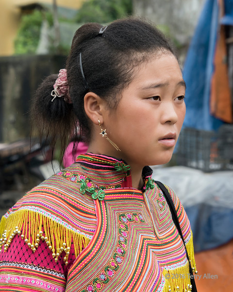 Flower Hmong young woman in traditional attire, Cuy Ly market, Sa Pa, north Vietnam