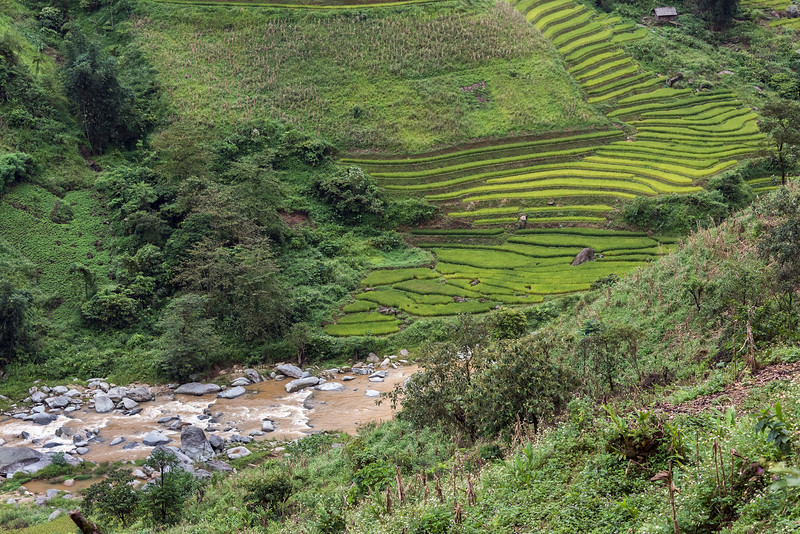 River and rice terraces on road to Sa Pa, Vietnam