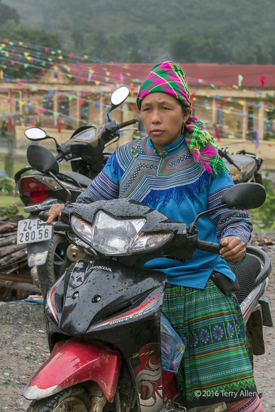 Flower Hmong woman passing though Coc Ly market on a motocycle, near Sa Pa, north Vietnam