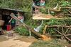 Water driven rice pounding mortar, Ta Van valley, Sa Pa, North Vietnam