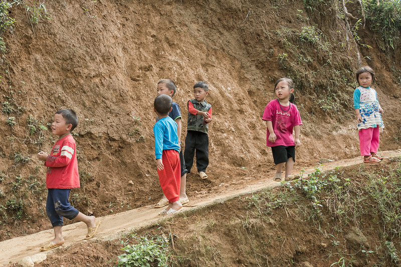 Curious children on a hill, Ta Van valley, Sa Pa, north Vietnam