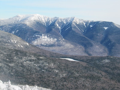 Spectacular view across Franconia Notch to the barren, slide-scarred Franconia Ridge