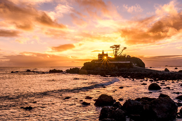 Sunset through the Battery Point Lighthouse, Crescent City, CA