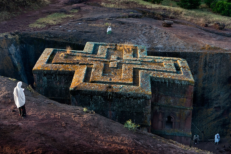 The roof of Bet Giyorgis rock hewn church at sunrise - Lalibela