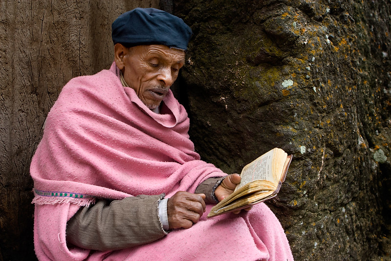 Man reading his Bible - Lalibela