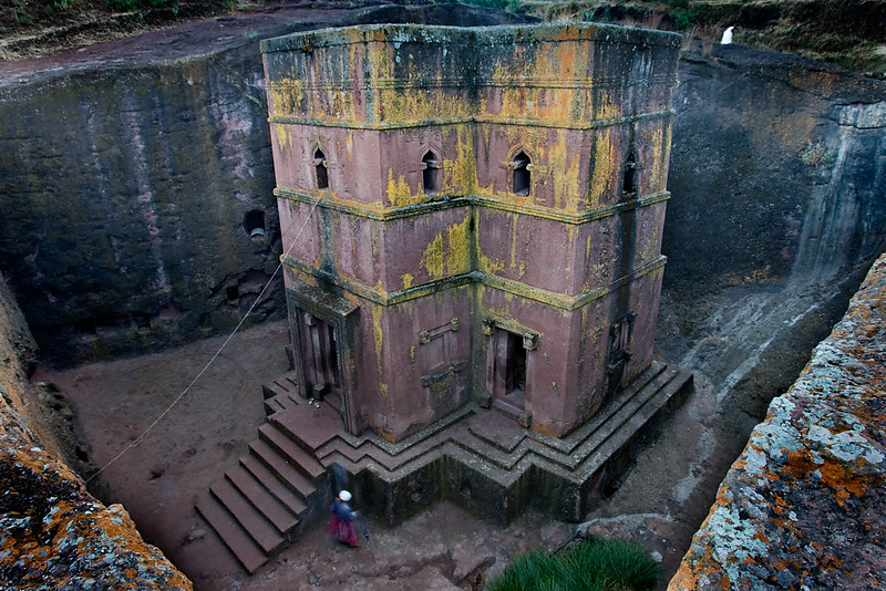 Bet Giyorgis rock hewn church at dawn - Lalibela