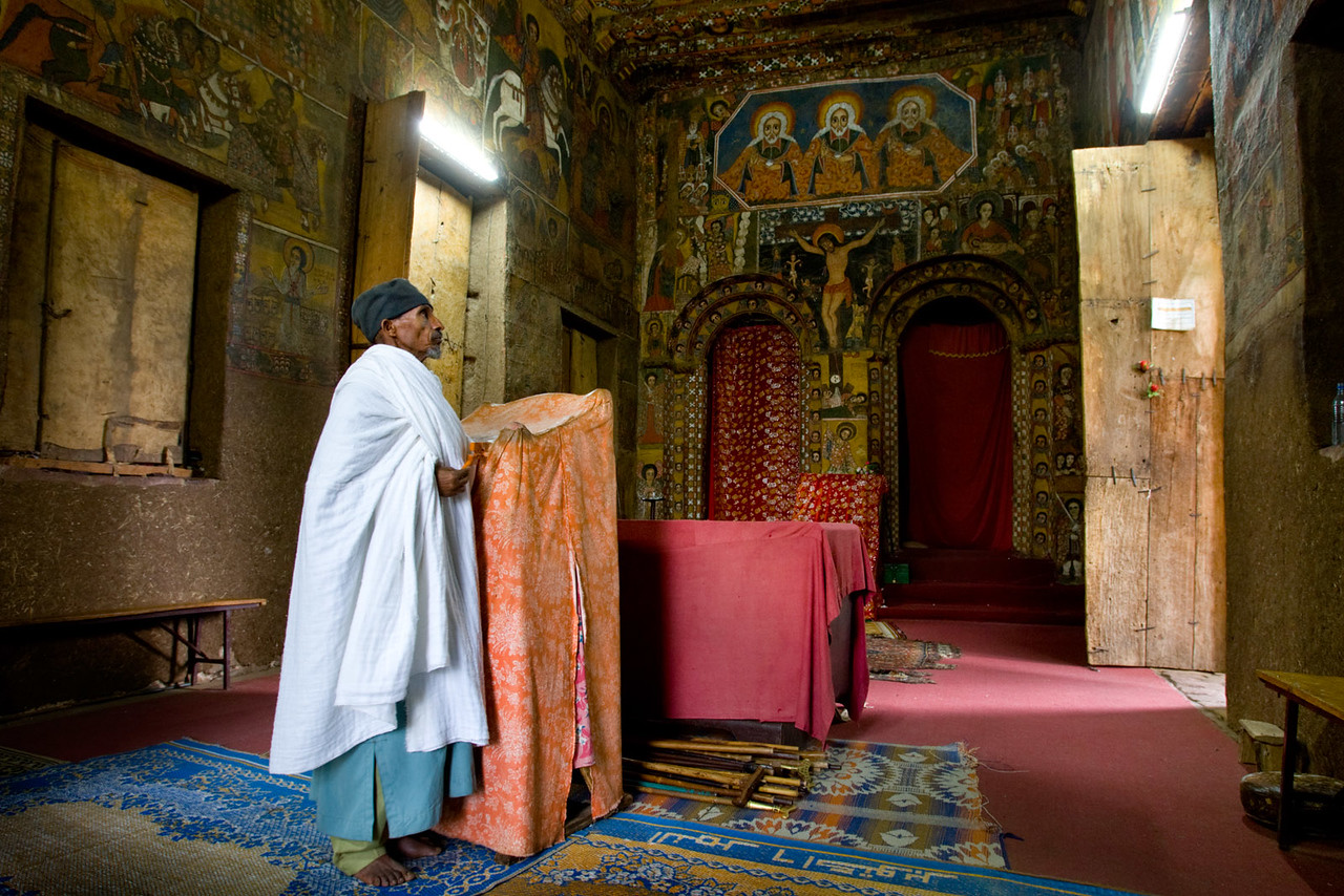 Inside the Debre Berhan Selassie church - Gonder