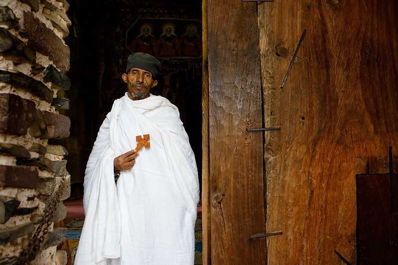 The priest at Debre Berhan Selassie church - Gonder