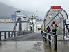 A ferry takes passengers across the  ½-mile wide  Tongass Narrows
