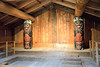 Interior of the Wandering Crow Clan House at Totem Bight State Historical Park.