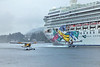 """The """"Norwegian Jewel"""" and two float planes in the Tongass Narrows"""