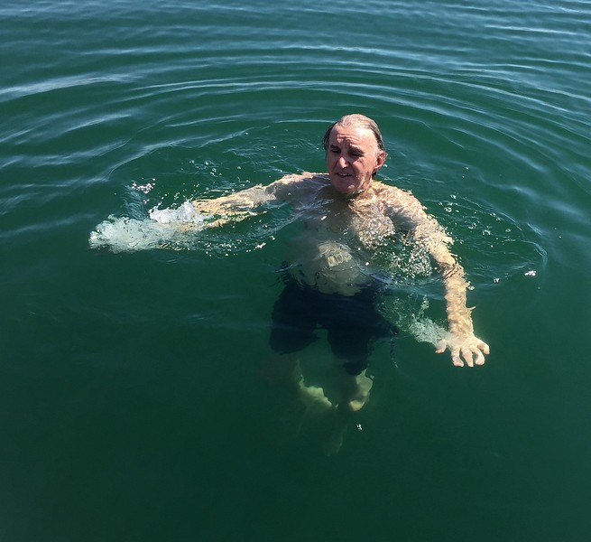 Larry cools off before dive