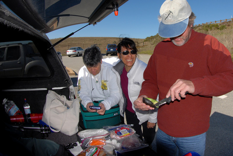 Tailgate lunch, before the hike to an Elephant Seal rookery.<br /> Bruce, Jo & Irene