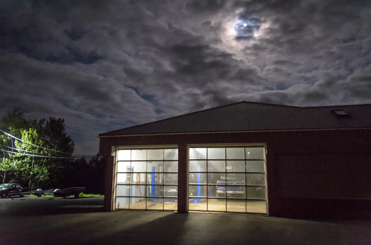 Garage at night, Baddeck, NS.