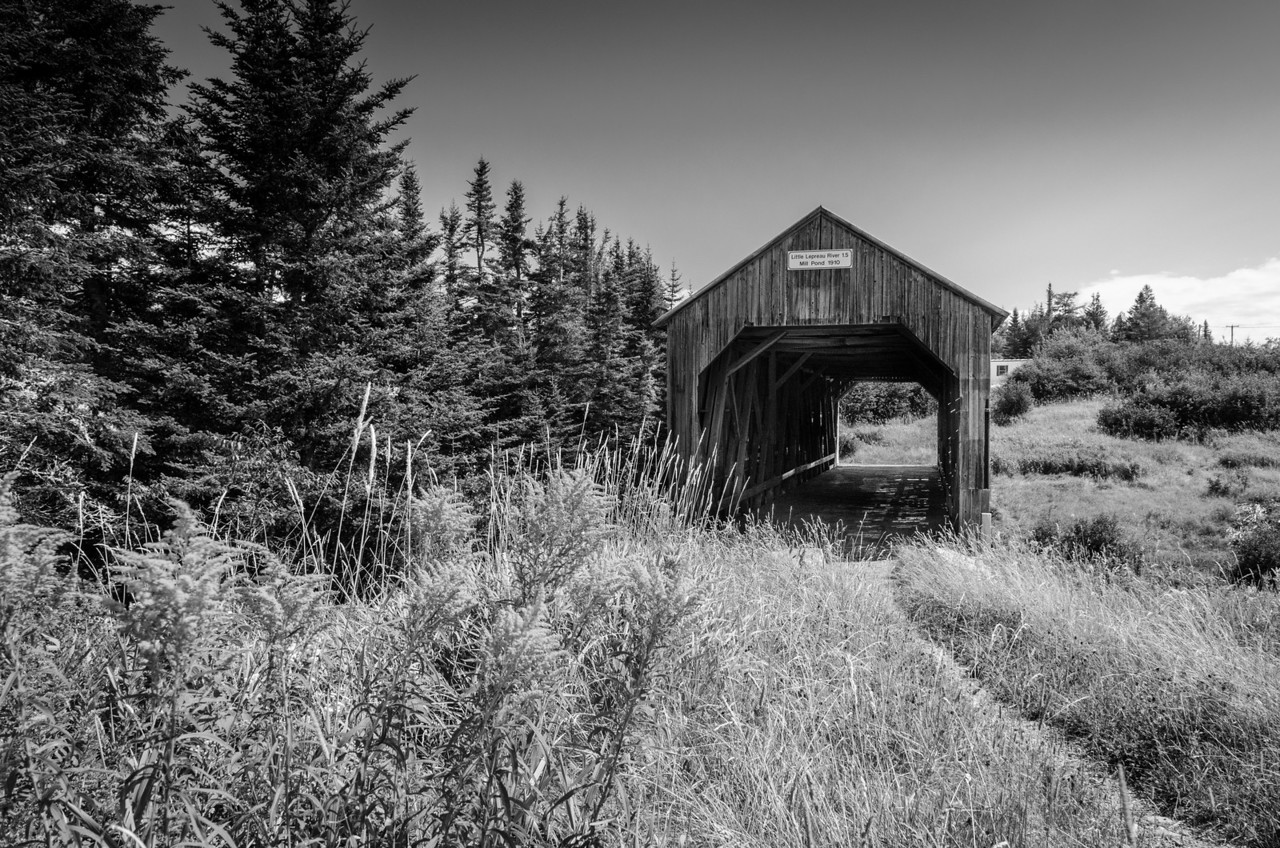 A covered bridge in coastal New Brunswick.