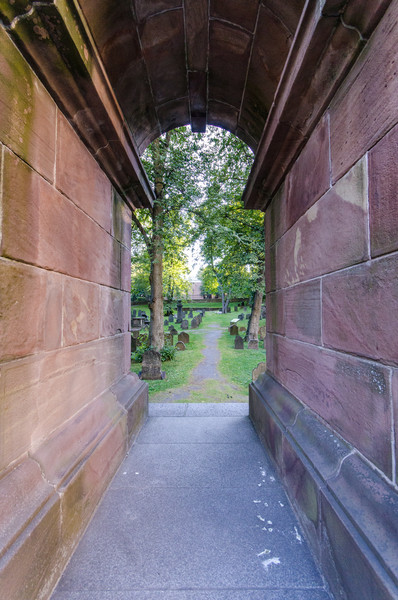 The entrance to The Old Burying Ground passes under the Welsford-Parker Monument, commemorating British victory in the Crimean War.