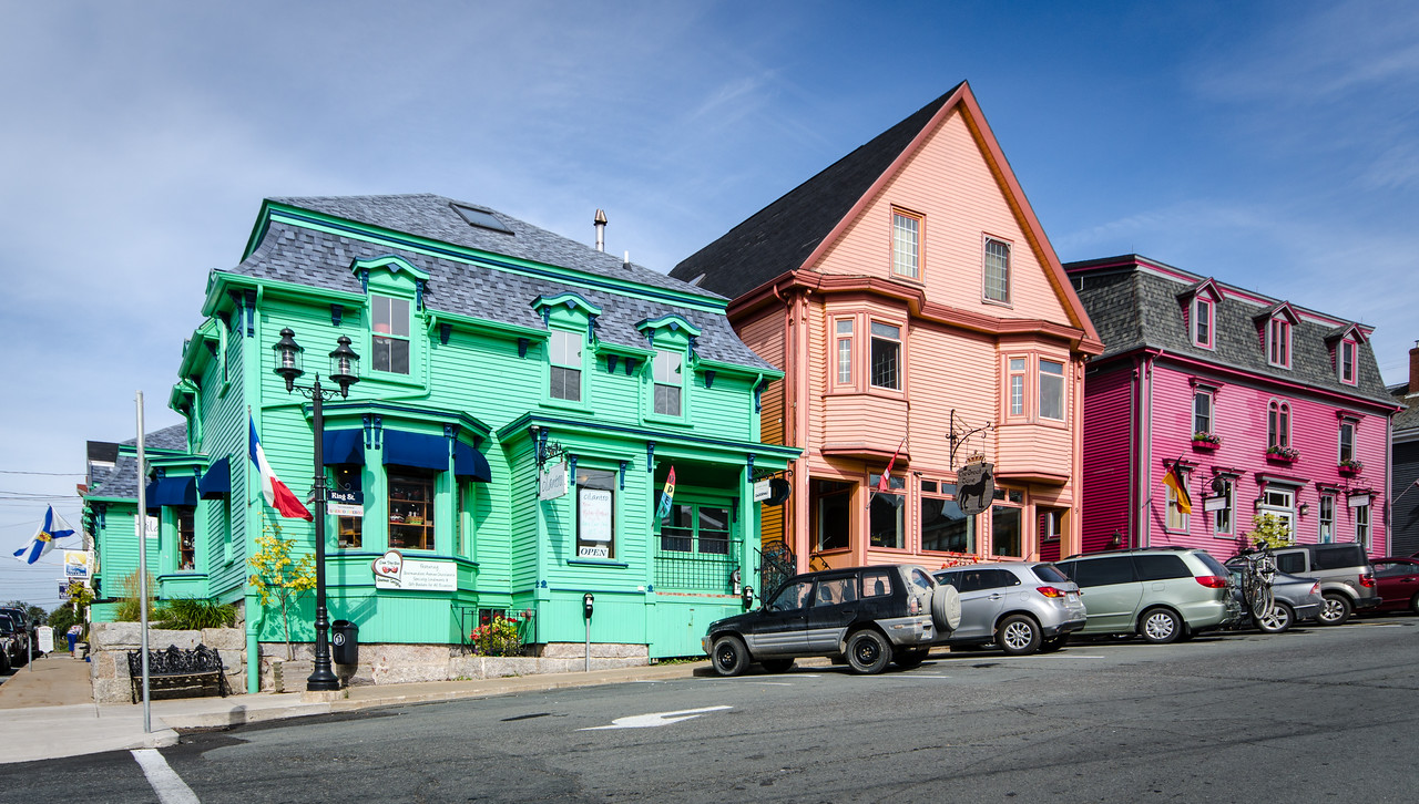 Colorful shops in Lunenburg.
