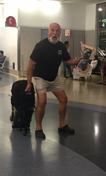 Krazy Diver makes it to LAX baggage claim!