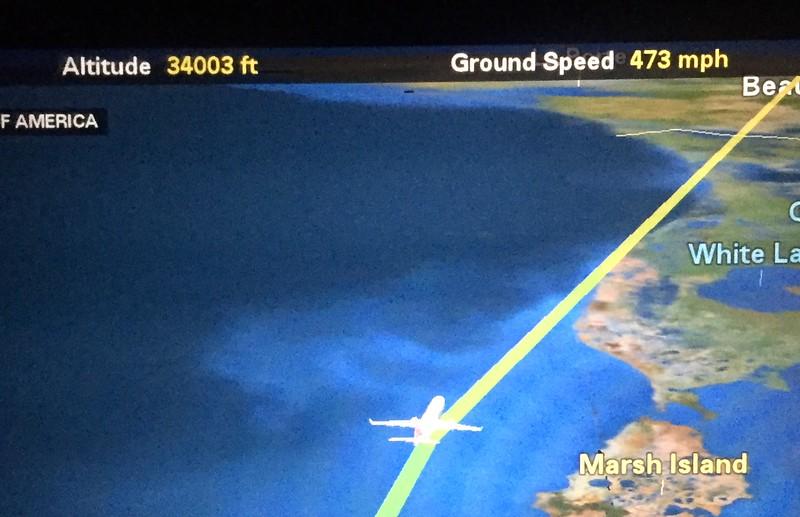 Speeding over Louisiana toward California at 473mph.