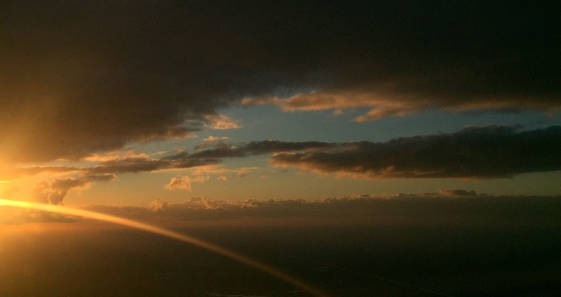 Sunset over Florida from airplane