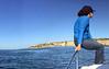 Merry Diver tending anchor duties aboard the No Pressure.<br /> Palos Verdes, California