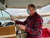 Jim McKeeman at the helm.<br /> Departing Huntington Harbor, California<br /> January 9, 2021
