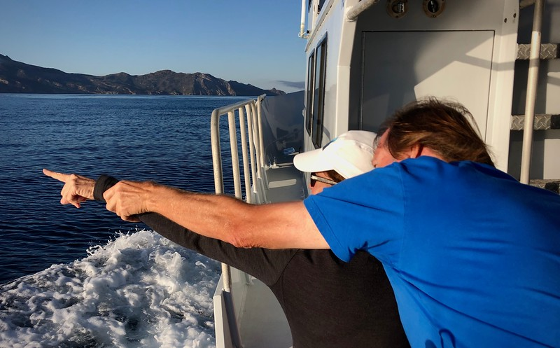 Phil Garner pointing out an eagle's nest to Merry<br /> Giant Stride<br /> Catalina Island, California