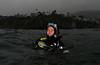Aaron S., diving during rain<br /> Shaw's Cove, Laguna Beach