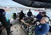 Jeff Reeb briefing Giant Stride divers<br /> Cabrillo Way Marina<br /> December 12, 2020