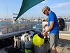 Aaron Halstead prepping night buoy<br /> San Pedro