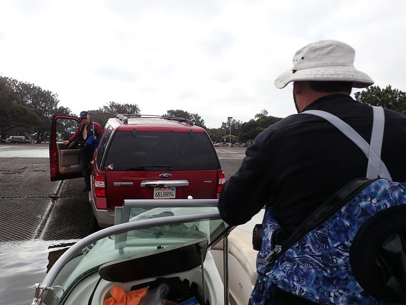 Jim Rosenberg backs our boat into the drink<br /> Dana Landing, Mission Bay, California<br /> May 4, 2019