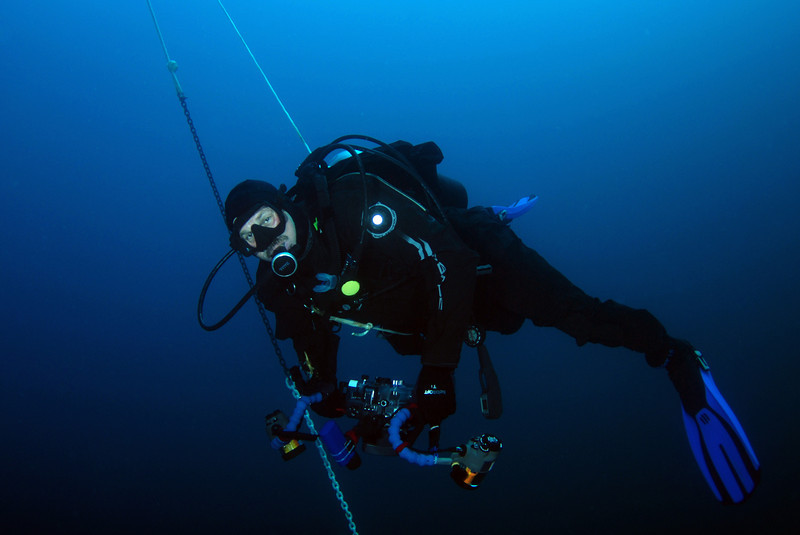 Tracy C.<br /> Open water diving, on 70-ft tethers, 12 miles off Mission Bay coast