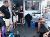 Walt, Aaron & Deb, listening to dive briefing by Captain Jim Simmerman<br /> Giant Stride<br /> August 29, 2018