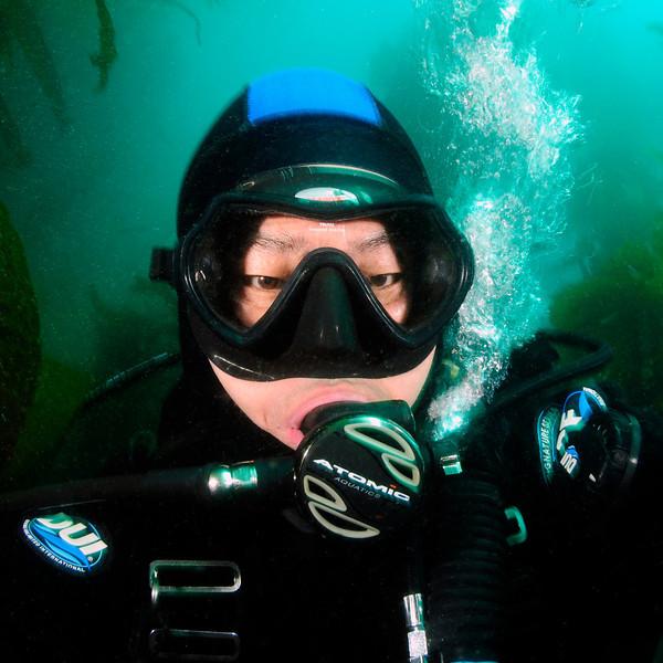 Kevin Lee, self-portrait.<br /> Sea Fan Grotto, Catalina Island, USA