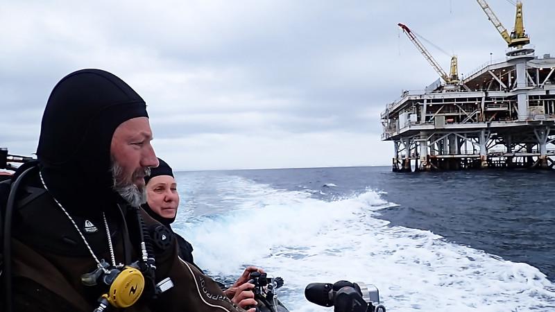 Phil Garner & Merry<br /> Giant Stride<br /> Oil Rigs off Long Beach, California