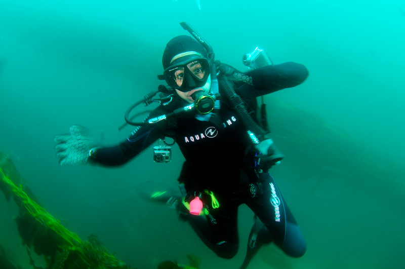 New diver, Myrna<br /> Sea Fan Grotto<br /> Catalina Island, California USA