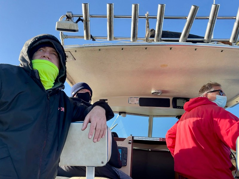 Walter, Bart & Capt. Jim check out some dolphins<br /> Catalina Channel, California<br /> January 9, 2021
